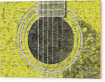 Yellow Guitar - Digital Painting - Music Wood Print by Barbara Griffin