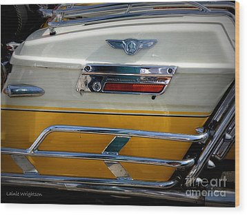 Yellow Harley Saddlebags Wood Print by Lainie Wrightson