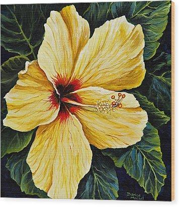 Yellow Hibiscus Wood Print by Darice Machel McGuire