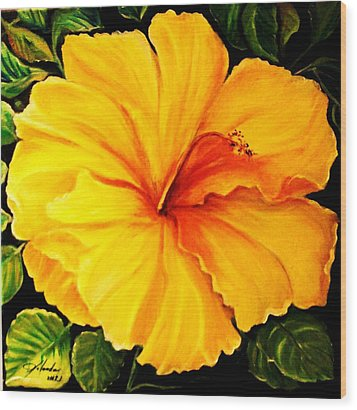 Wood Print featuring the painting Yellow Hibiscus by Yolanda Rodriguez