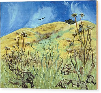 Wood Print featuring the painting Yellow Hills And Thistles  by Asha Carolyn Young