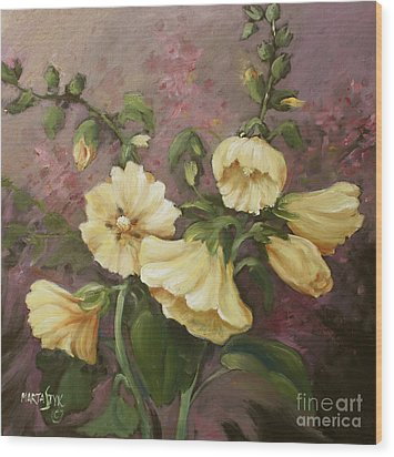 Yellow Holyhock Wood Print