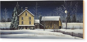 Yellow House Wood Print by Debbi Wetzel