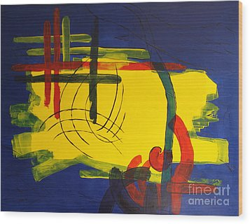 Yellow Island On Blue Wood Print by Christiane Schulze Art And Photography