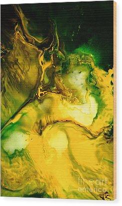 Yellow Jacket Abstract Art Wood Print by Serg Wiaderny