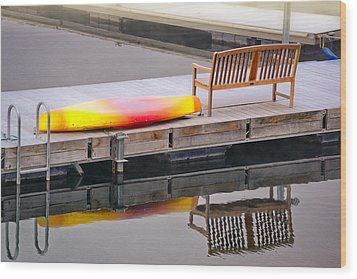 Wood Print featuring the photograph Yellow Kayak At The Sparks Marina by Janis Knight