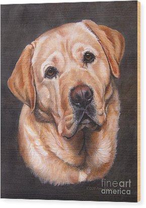 Yellow Labrador Portrait - Dark Yellow Dog Wood Print