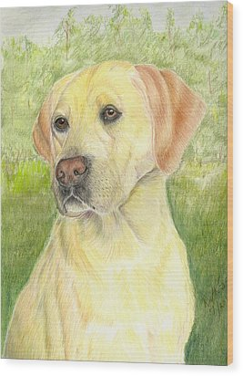 Yellow Labrador Retiever Wood Print