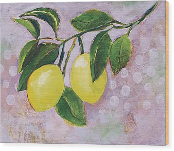 Yellow Lemons On Purple Orchid Wood Print by Jen Norton