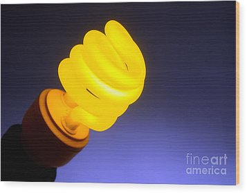 Yellow Light Wood Print by Olivier Le Queinec