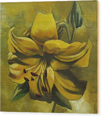 Wood Print featuring the painting Yellow Lily by Alfred Ng