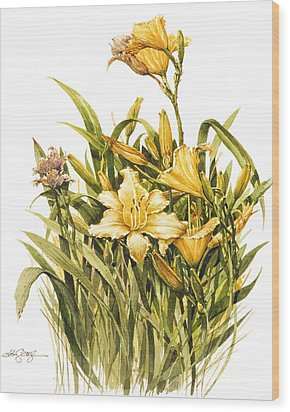 Yellow Lily Wood Print by Bob  George