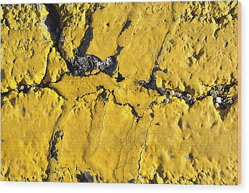 Yellow Line Abstract Wood Print by Luke Moore