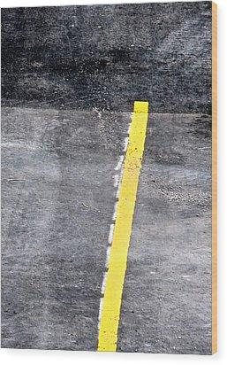 Yellow Line Wood Print by John Illingworth