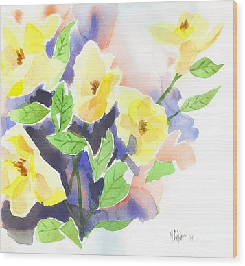 Wood Print featuring the painting Yellow Magnolias by Kip DeVore