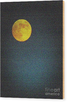 Yellow Man In The Moon Wood Print by Colleen Kammerer