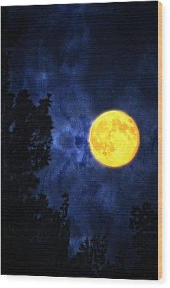 Yellow Moon Wood Print by Dan Quam