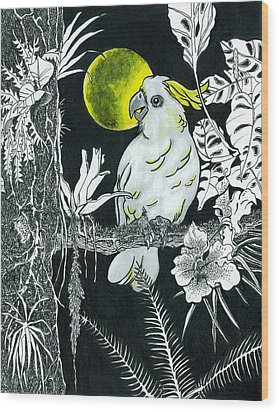 Yellow Moon  Wood Print