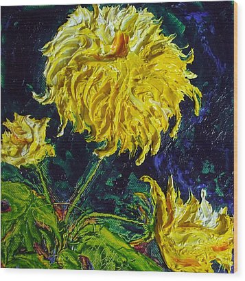 Yellow Mum Wood Print by Paris Wyatt Llanso