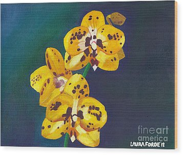 Wood Print featuring the painting Yellow Orchids by Laura Forde