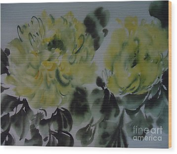 Wood Print featuring the painting Yellow Peony 1-01272012 by Dongling Sun
