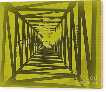 Yellow Perspective Wood Print by Clare Bevan