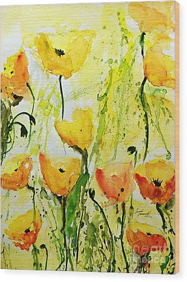 Yellow Poppys - Abstract Floral Painting Wood Print by Ismeta Gruenwald