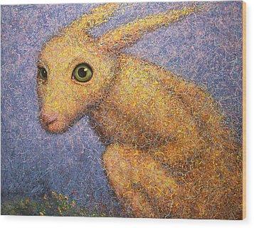 Yellow Rabbit Wood Print by James W Johnson