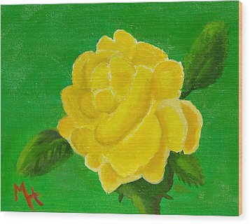 Wood Print featuring the painting Yellow Rose Of Beta Sigma Phi by Margaret Harmon
