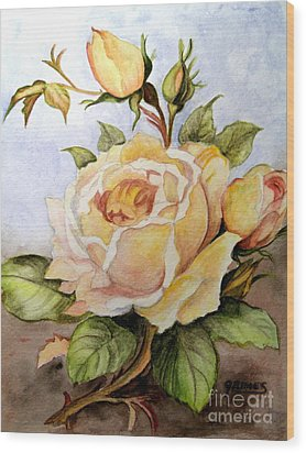 Yellow Roses In The Garden Wood Print by Carol Grimes
