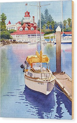 Yellow Sailboat And Coronado Boathouse Wood Print by Mary Helmreich