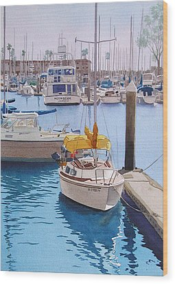 Yellow Sailboat Oceanside Wood Print by Mary Helmreich