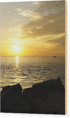 Wood Print featuring the photograph Yellow Sky by Laurie Perry