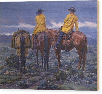 Yellow Slickers Wood Print by Randy Follis