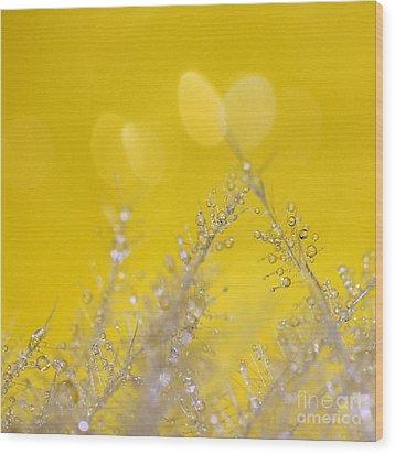 Yellow Sparkles Wood Print by Karin Ubeleis-Jones