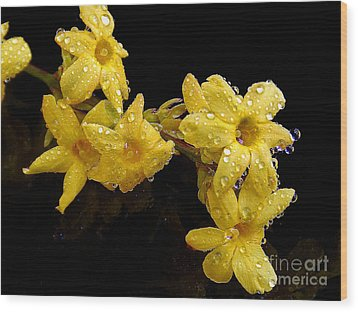 Wood Print featuring the photograph Yellow Spring Flowers by Elvira Ladocki
