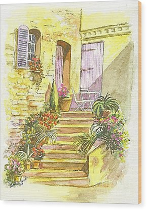 Wood Print featuring the painting Yellow Steps by Carol Wisniewski