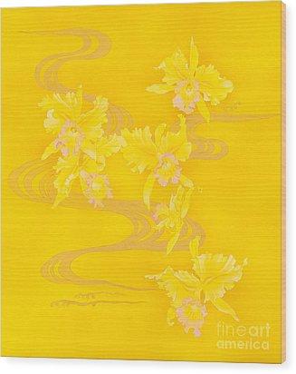 Yellow Stream Wood Print by Haruyo Morita