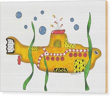 Yellow Submarine Wood Print by Sue Brassel