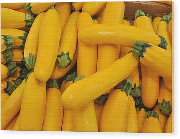 Yellow Summer Squash Wood Print by Diane Lent