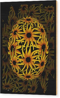 Yellow Sunflower Seed Wood Print