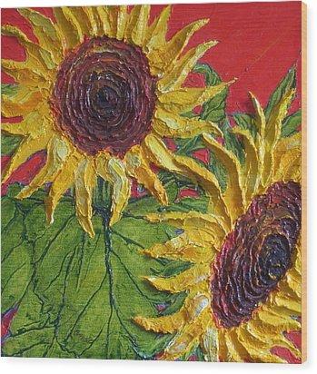 Yellow Sunflowers On Red Wood Print by Paris Wyatt Llanso