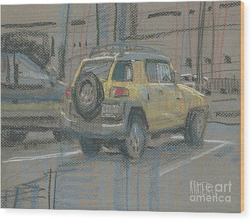 Wood Print featuring the painting Yellow Suv by Donald Maier