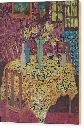 Yellow Table Wood Print by Karen Coggeshall