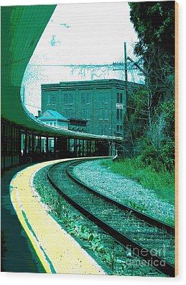 Yellow Track Wood Print by Sally Simon
