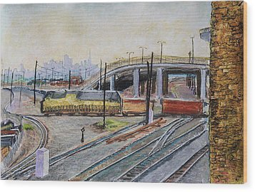 Yellow Train And San Francisco Skyline Wood Print by Asha Carolyn Young