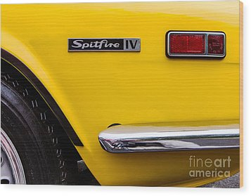 Yellow Triumph Spitfire Wood Print by Jerry Fornarotto