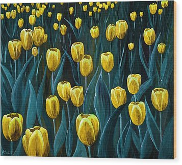 Yellow Tulip Field Wood Print by Anastasiya Malakhova