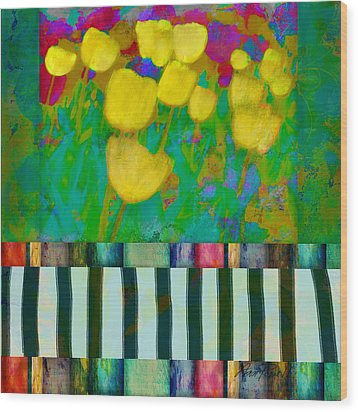 Yellow Tulips Abstract Art Wood Print by Ann Powell