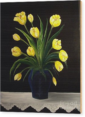 Yellow Tulips And White Eyelet Wood Print by Peggy Miller